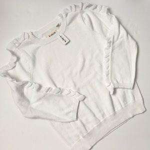 NWT Kidpik white sweater with ruffles